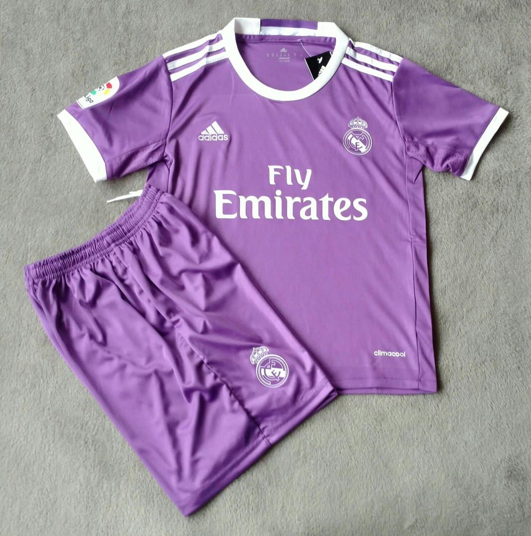 1d59e2872c96 Детская футбольная форма Реал Мадрид фиолетовая сезон 16-17 - Спортивный  магазин Kosas в Харькове