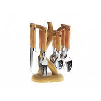Набір столових приборів (дерев'яних) 24 предмети (6 персон) А-Плюс 1439