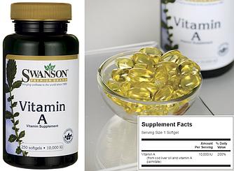 Swanson, Витамин А, 10000 IU, 30 капсул (zip-пакет)