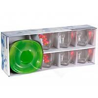 Сервіз чайний скляний Luminarc. Aime Carina Erina 12 предметів (6 чашок 220мл+6 блюдець)