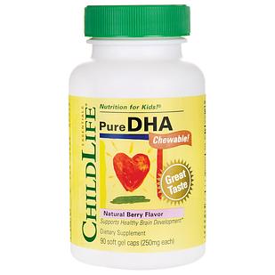 ChildLife, Pure DHA Omega-3  250 мг 90 шт жевательные  клубника