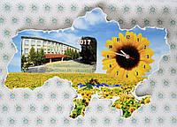 Часы Настенные карта Украины с фотографией школы