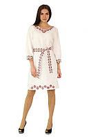 Плаття вишите жіноче, білого кольору з червоно-чорною вишивкою