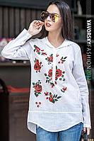 Хлопковая женская рубашка с принтом в стиле вышивки