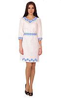 Плаття вишите жіноче, білого кольору з синьо-голубою вишивкою