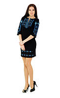 Плаття вишите жіноче, чорного кольору з синьо-білою вишивкою