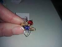 Кольцо с камнем  морганит 18 карат в позолоте..