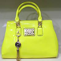 Сумка женская Стильная лакированная Лимонная 17-2150-2