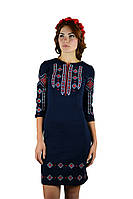 Плаття вишите жіноче, темно-синього кольору з червоно-білою вишивкою