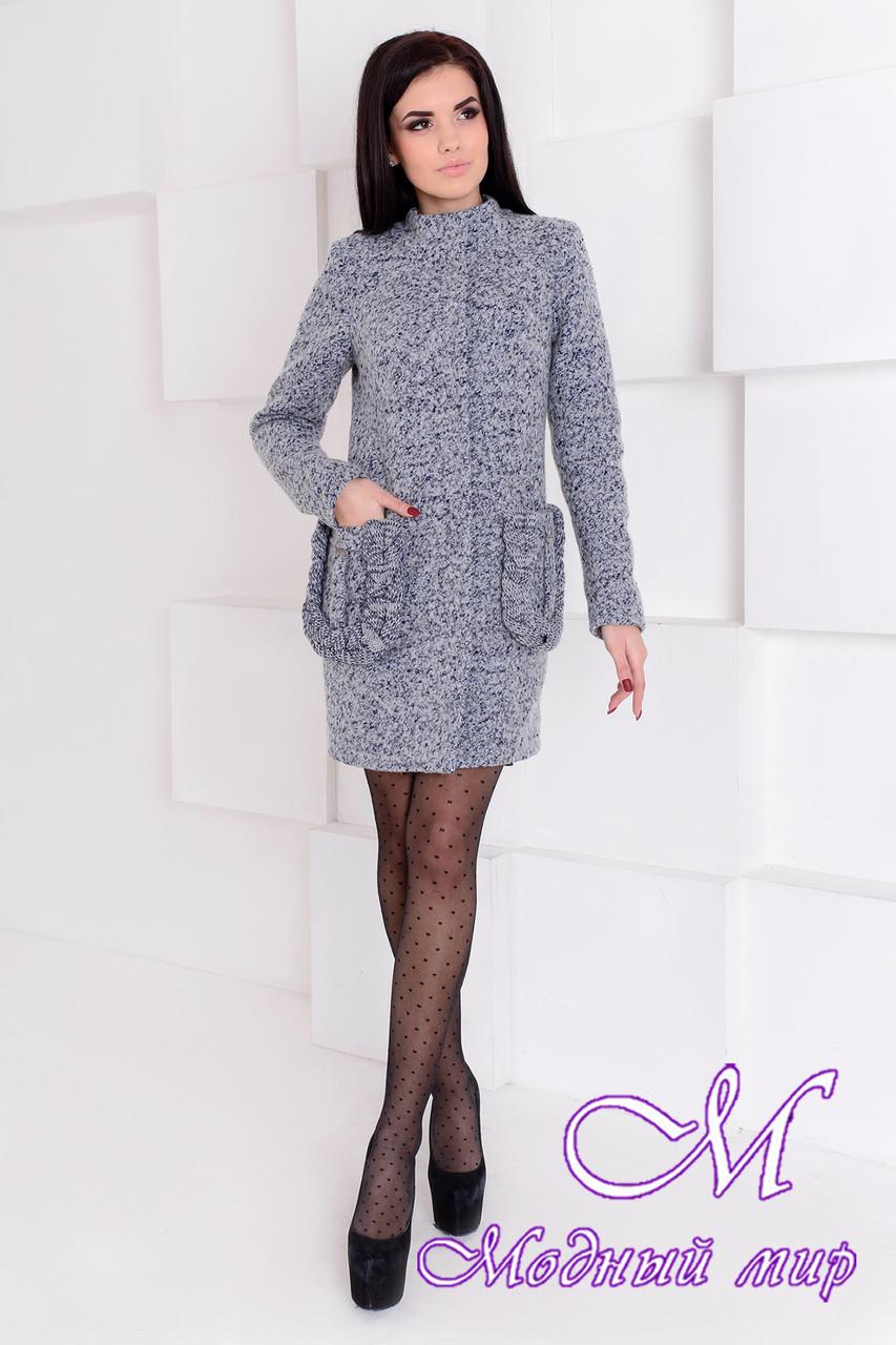 Демисезонное женское серое пальто (р. S, M, L) арт. Женева крупное букле 9179