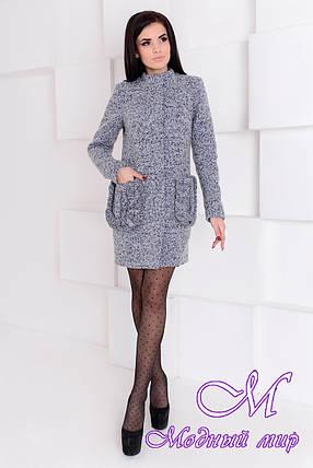 Демисезонное женское серое пальто (р. S, M, L) арт. Женева крупное букле 9179, фото 2