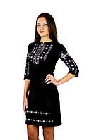 Плаття вишите жіноче, чорного кольору з сірою-білою вишивкою