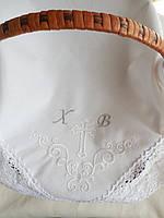 """Пасхальная салфетка из хлопка с вышивкой и ажурным кружевом  """"Пасхальный набор"""" (для пасхальной корзины)"""
