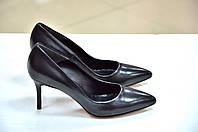 Итальянские женские черные кожаные туфли лодочки на каблуке 7см, фото 1