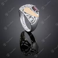 Серебряное кольцо с гранатом и цирконами. Артикул П-421