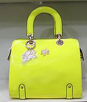Сумка женская Стильная лакированная  Лимонная 17-2071-2