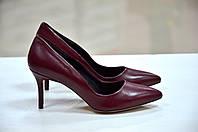 Женские кожаные бордовые туфли лодочки на каблуке 7см, фото 1