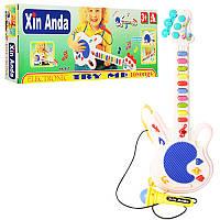 Детская гитара с микрофоном 957, синяя