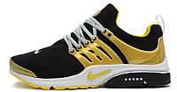 Мужские кроссовки Nike Air Presto Genealogy of Free (Найк Аир Престо) черные/желтые
