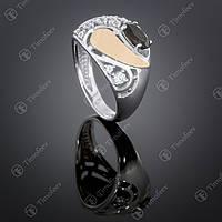 Серебряное кольцо с раухтопазом и цирконами. Артикул П-421