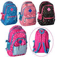 Рюкзак 4505 (60шт) застежка-молния,2внутр.карм,4наружн.кармана,4 цвета, в кульке, 44-32-3см