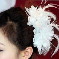 Сексуальная женская заколка для волос с перьями белая