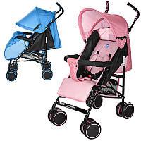 Коляска детская M 3421-1  прогулочн,трость,колеса4шт,рег.спинка,5-ти точ.рем,2цвета голуб/розов
