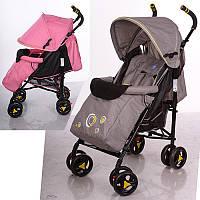 Коляска детская M 3422-1 (2шт) прогулочн,трость,колеса4шт,рег.спинка,5-ти точ.рем,2цвета серый/розов