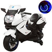 Мотоцикл M 3208EL-1 (1шт) 2мотора,аккум12V7AH,колесEVA,кож.сид, свет,2скор,MP3,USB,звук,бел