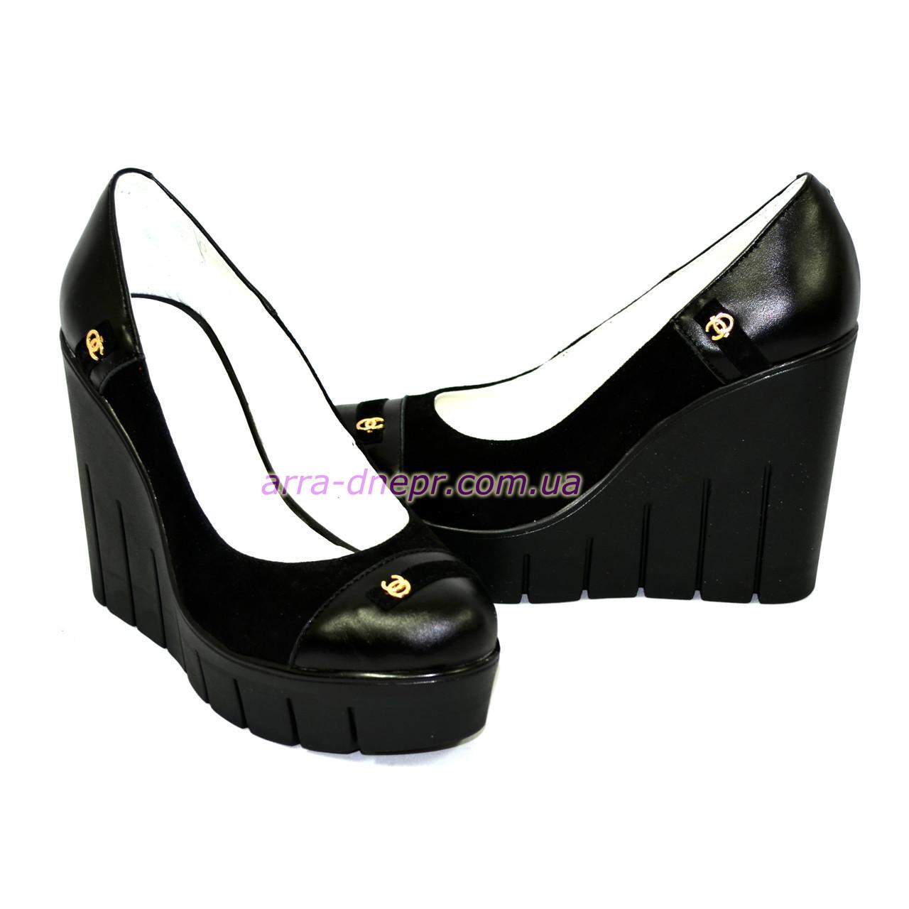 44521b64a ... Женские туфли на устойчивой высокой платформе, натуральная кожа и замша,  фото 5