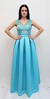 Выпускное атласное платье голубое (Т-2017-40)