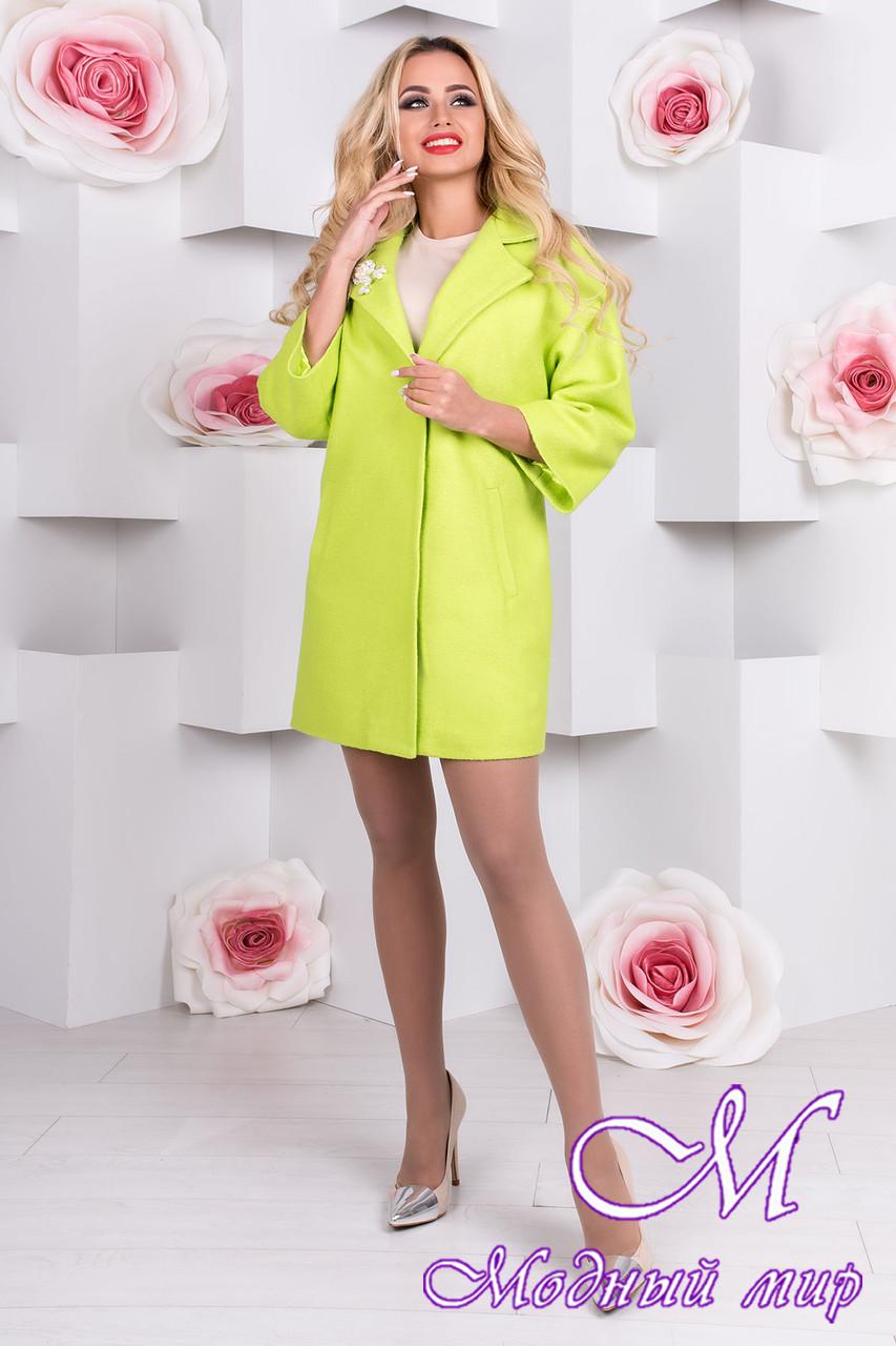 Весеннее женское салатовое пальто (р. S, M, L) арт. Бина шерсть меланж 9581
