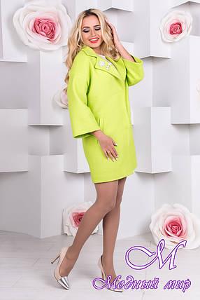 Весеннее женское салатовое пальто (р. S, M, L) арт. Бина шерсть меланж 9581, фото 2
