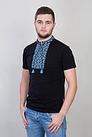 Мужская сорочка с вышивкой голубого цвета