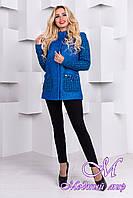 Женское короткое демисезонное пальто (р. S, M, L) арт. Карамель крупное букле 9272