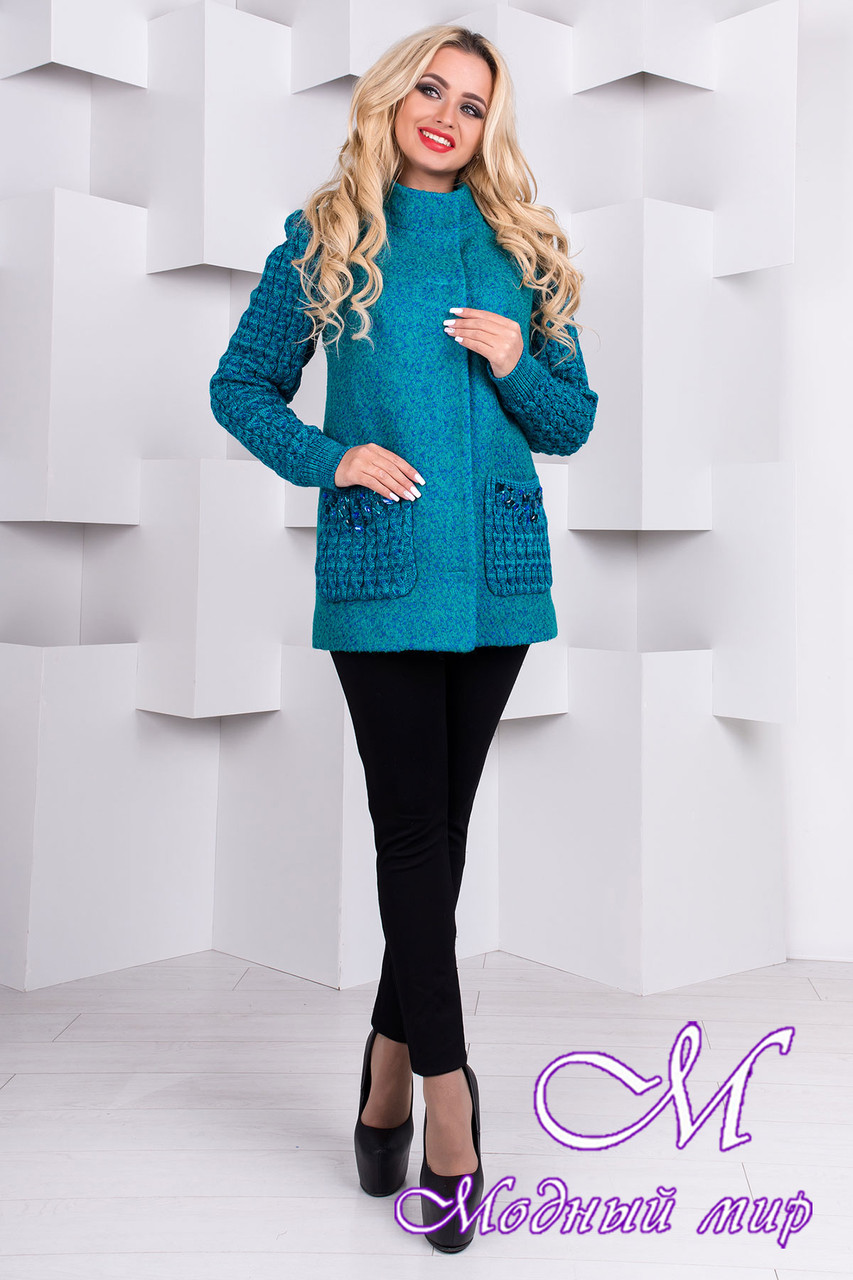 Женское короткое весеннее пальто (р. S, M, L) арт. Карамель крупное букле 9273