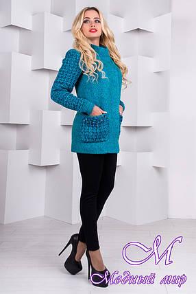 Женское короткое весеннее пальто (р. S, M, L) арт. Карамель крупное букле 9273, фото 2