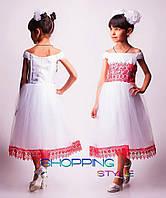 Детское выпускное платье Снежинка красные вставки