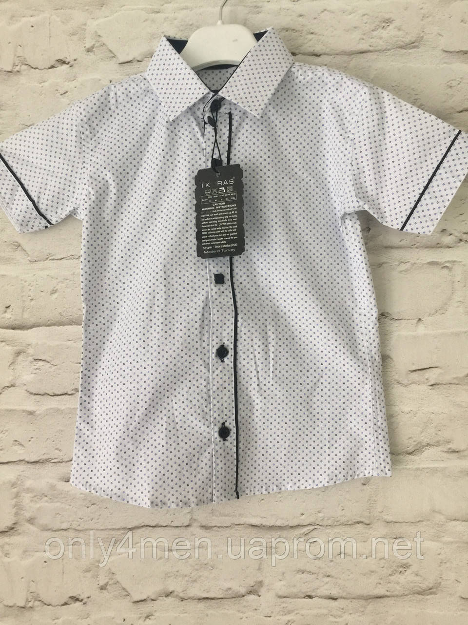 Рубашка короткий рукав белая 2-7 лет