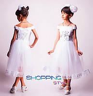 Детское выпускное платье Снежинка белое