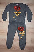 Стильный спортивный костюм для девочки 116-164 рост. Серый. Оптом.