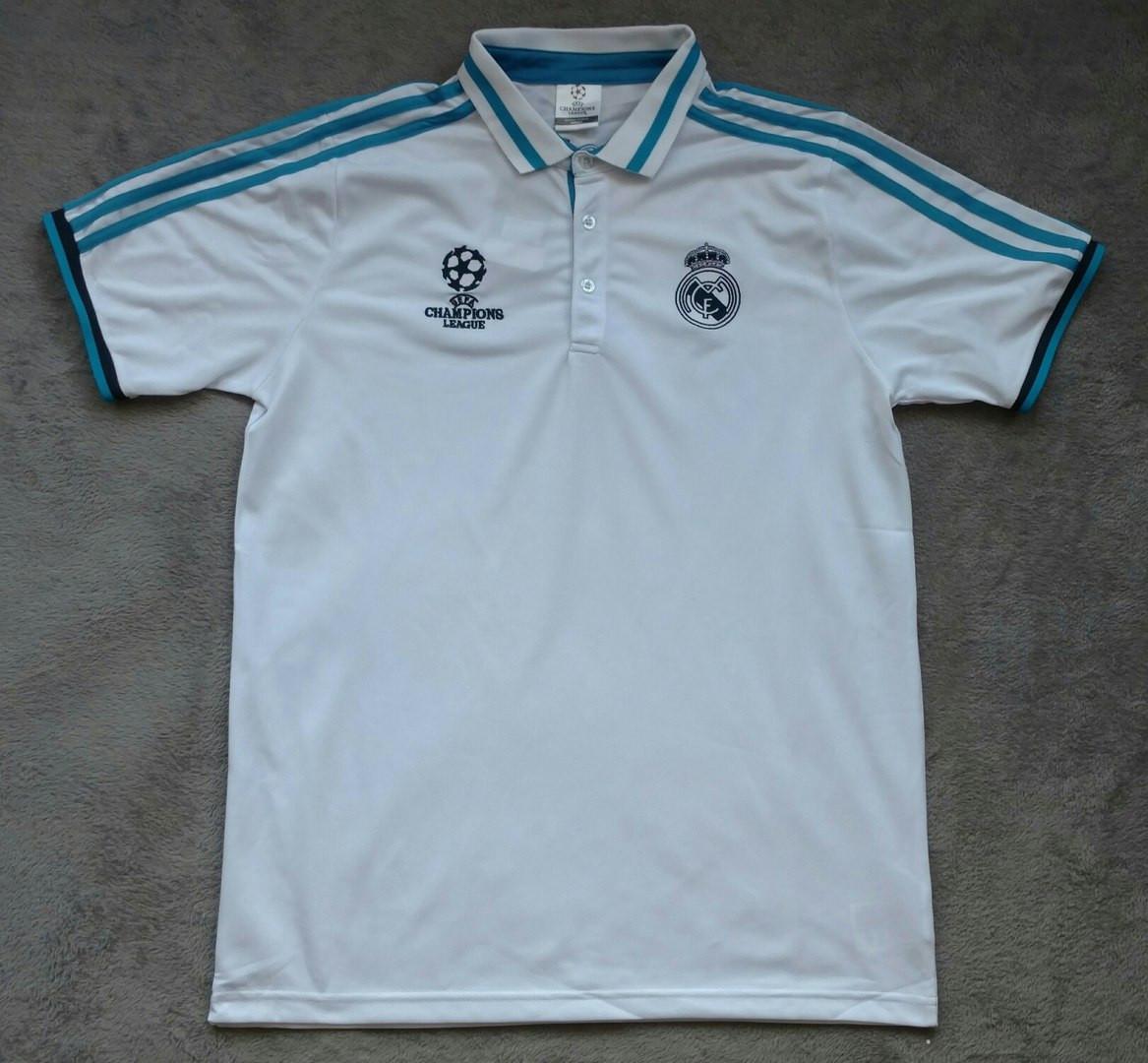 Поло футболка Реал Мадрид с пуговицами белая