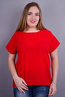 Гала. Женская блузка больших размеров. Красный., фото 1