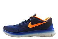 Кроссовки мужские беговые Nike Free Run Flyknit V.1 Blue White Orange  (найк фри ран)