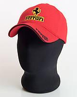 """Мужская бейсболка с автологотипом """"Ferrari"""" красного цвета (лакоста пятиклинка)."""