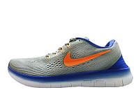Кроссовки мужские беговые Nike Free Run Flyknit V.1 Blue Grey Orange  (найк фри ран)