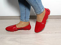 Красные женские кожаные мокасины