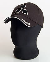 """Мужская бейсболка с автологотипом """"Mitsubishi"""" черного цвета цвета (лакоста пятиклинка)."""