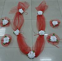 Свадебная лента на капот и цветы на ручки машины (Компл-ЛР-02) красный