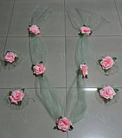 Свадебная лента и цветы на ручки (Компл-ЛР-03) нежно-зеленый